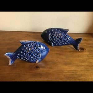 2 Pier 1 Blue Ceramic Fish Tea light Candle Holder